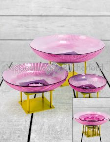 Set of 3 Deco Purple Glass Bowls on Gold Stands