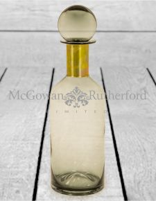 Tall Smoke Grey Glass Apothecary Bottle with Brass Neck