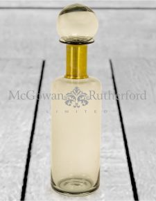 Slim Smoke Grey Glass Apothecary Bottle with Brass Neck