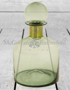 Large Green Glass Apothecary Bottle with Brass Neck