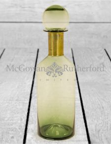 Tall Green Glass Apothecary Bottle with Brass Neck