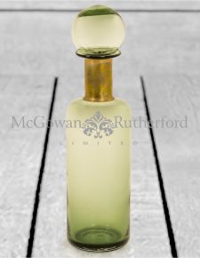Slim Green Glass Apothecary Bottle with Brass Neck