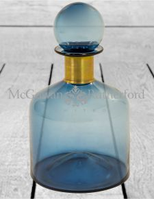 Large Blue Glass Apothecary Bottle with Brass Neck