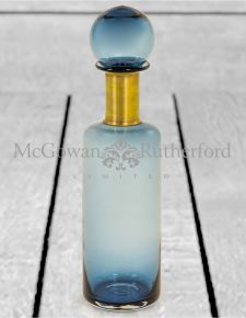 Slim Blue Glass Apothecary Bottle with Brass Neck