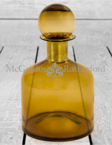 Large Brown Glass Apothecary Bottle with Brass Neck