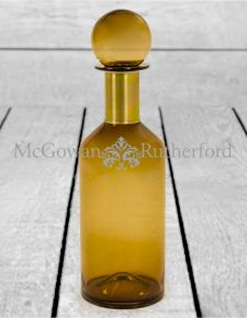 Tall Brown Glass Apothecary Bottle with Brass Neck