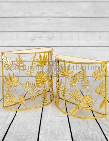 Gold Tropical Leaf S/2 Half Moon Console Tables with Mirrored Surfaces