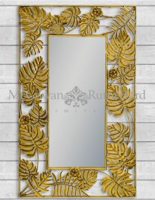 Gold Tropical Leaf Rectangular Wall Mirror