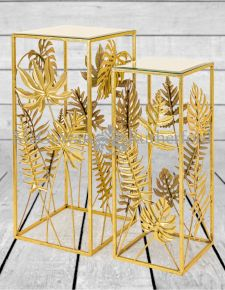Gold Tropical Leaf S/2 Pedestal/Plant Stands with Mirrored Surfaces