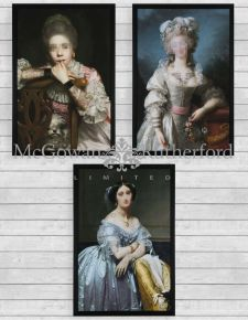 "Set of 3 ""Inked"" Classical Portrait Framed Prints *CLEARANCE ITEM*"