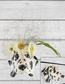 Ceramic Dalmatian Head Wall Sconce Vase