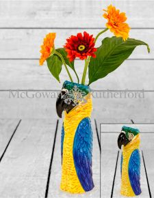 Ceramic Blue Macaw/Parrot Head Vase