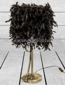 Antique Silver Large Bird Leg Table Lamp with Black Feather Shade