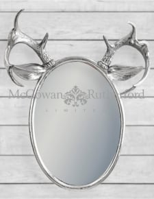 Silver Leaf Oval Stag Horn Wall Mirror