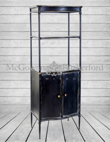 "Black Metal ""Verne"" Tall Shelf Unit with Cupboard"