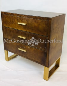 Dark Wooden Chest of Drawers with Brass Style Detailing