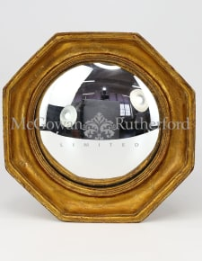 Antiqued Gold Octagonal Framed Convex Mirror