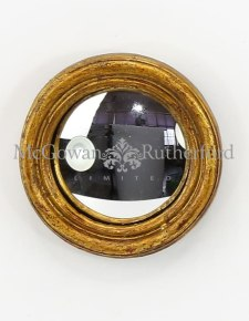 Antiqued Gold Thin Framed Extra Small Convex Mirror