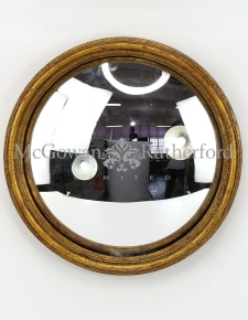 Antiqued Gold Thin Framed Large Convex Mirror
