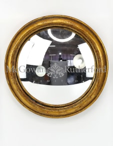 Antiqued Gold Rounded Framed Large Convex Mirror