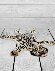 "Hand Tufted Small White Tiger ""Skin"" Woollen Rug"