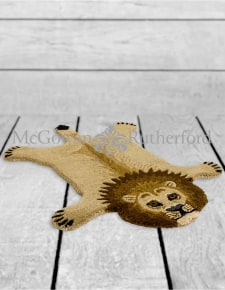 "Hand Tufted Small Lion ""Skin"" Woollen Rug"