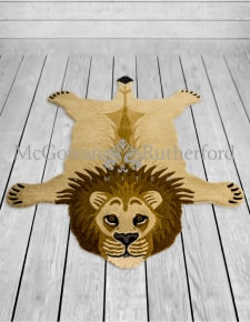 "Hand Tufted Extra Large Lion ""Skin"" Woollen Rug"