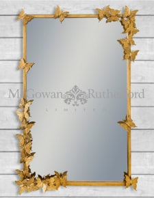Antique Gold Rectangular Butterfly Frame Wall Mirror