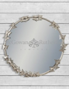 Antique Silver Round Butterfly Frame Wall Mirror