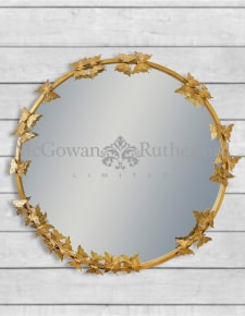 Antique Gold Round Butterfly Frame Wall Mirror