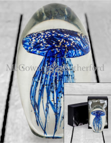 Large Blue with Gold Leaf Jellyfish Glass Paperweight with Gift Box