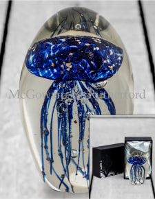 Blue with Gold Leaf Jellyfish Glass Paperweight with Gift Box