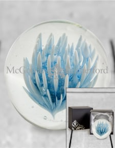 Large Blue & White Flower Glass Ball Paperweight with Gift Box