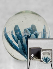 Blue & White Flower Glass Ball Paperweight with Gift Box