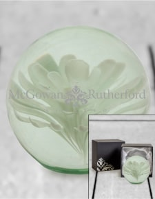 Large White Flower Glass Ball Paperweight with Gift Box