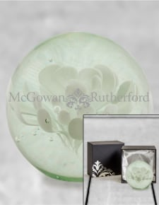 White Flower Glass Ball Paperweight with Gift Box
