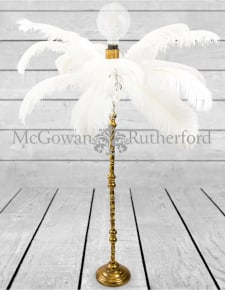 Large White Ostrich Feather Table Lamp on Gold Base