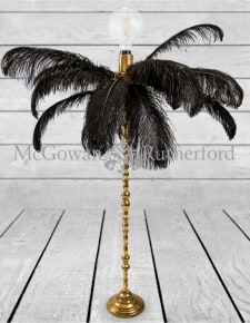 Large Black Ostrich Feather Table Lamp on Gold Base
