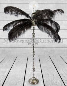 Large Black Ostrich Feather Table Lamp on Silver Base