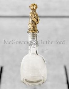 Glass with Gold Meerkat Lid Storage Bottle