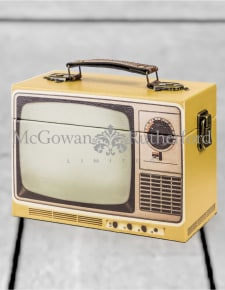 Yellow Retro Television Storage Box