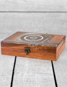 Brown Retro Record Player Storage Box