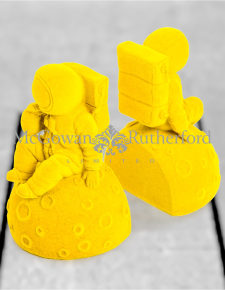 Bright Yellow Flock Pair of Astronaut Bookends