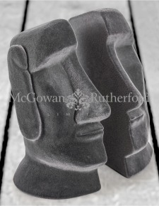Grey Flock Easter Island Head Pair of Bookends