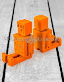 Bright Orange Flock Pair of Robot Bookends