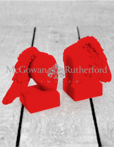 Bright Red Flock Pair of Winged Heart Bookends