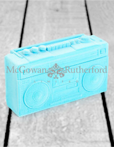 Light Blue Flock Radio Money Box