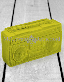Olive Green Flock Radio Money Box