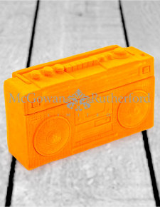 Bright Orange Flock Radio Money Box