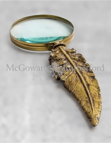 Antique Gold Feather Handled Magnifying Glass (to be ordered in qtys of 2)
